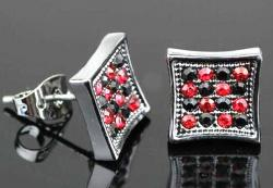 A701 Náušnice Silver Square - Black Red Diamond