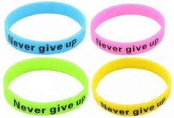 Silikonový Náramek NEVER GIVE UP - Fluorescent - B1056