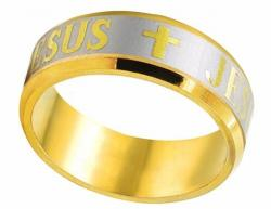 Prsten JESUS CROSS Gold/Silver - 1104