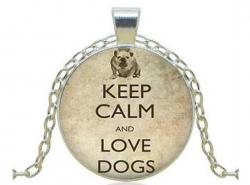 Přívěsek Glass - KEEP CALM LOVE DOGS - Psi 1180