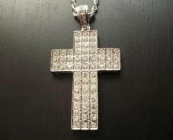 Hip Hop Přívěsek Kříž - BIG CROSS Diamond Silver - Luxury P232