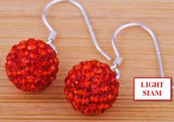 Náušnice SHAMBALLA - Visací - Light Siam Red - E476