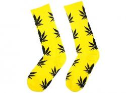 Ponožky WEED yellow/black - High Marihuana