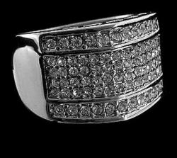 Hip Hop Prsten  Diamond Silver LUXURY