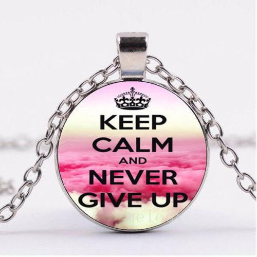 Přívěsek Glass - KEEP CALM NEVER GIVE UP - 1315