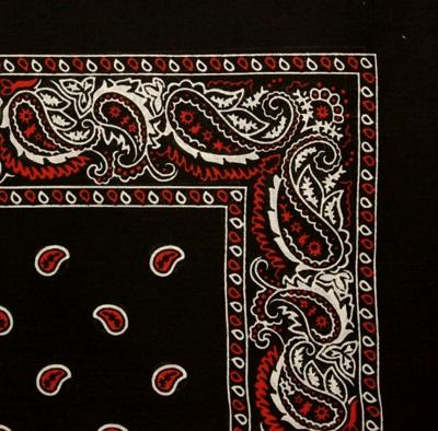 Bandana Šátek -  Black/Red/White - 55 x 55 cm - B1382