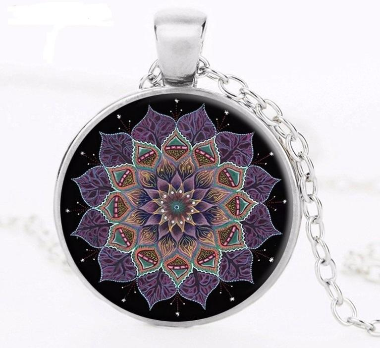 Přívěsek Glass - Mandala Flower - black 1558