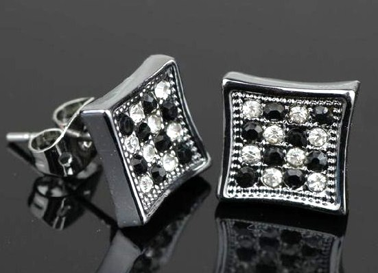 A702 Náušnice Silver Square - Black White Diamond