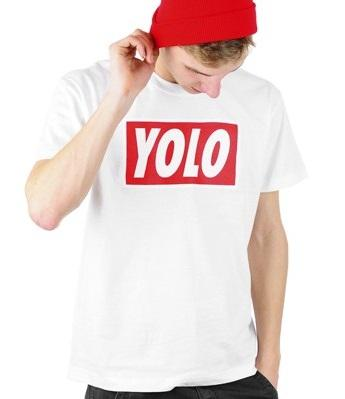Tričko YOLO - White/Red - Unisex