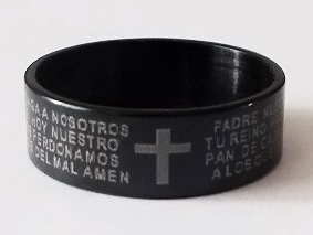 Prsten CROSS PRAYER Black - Nerez ocel  / 898